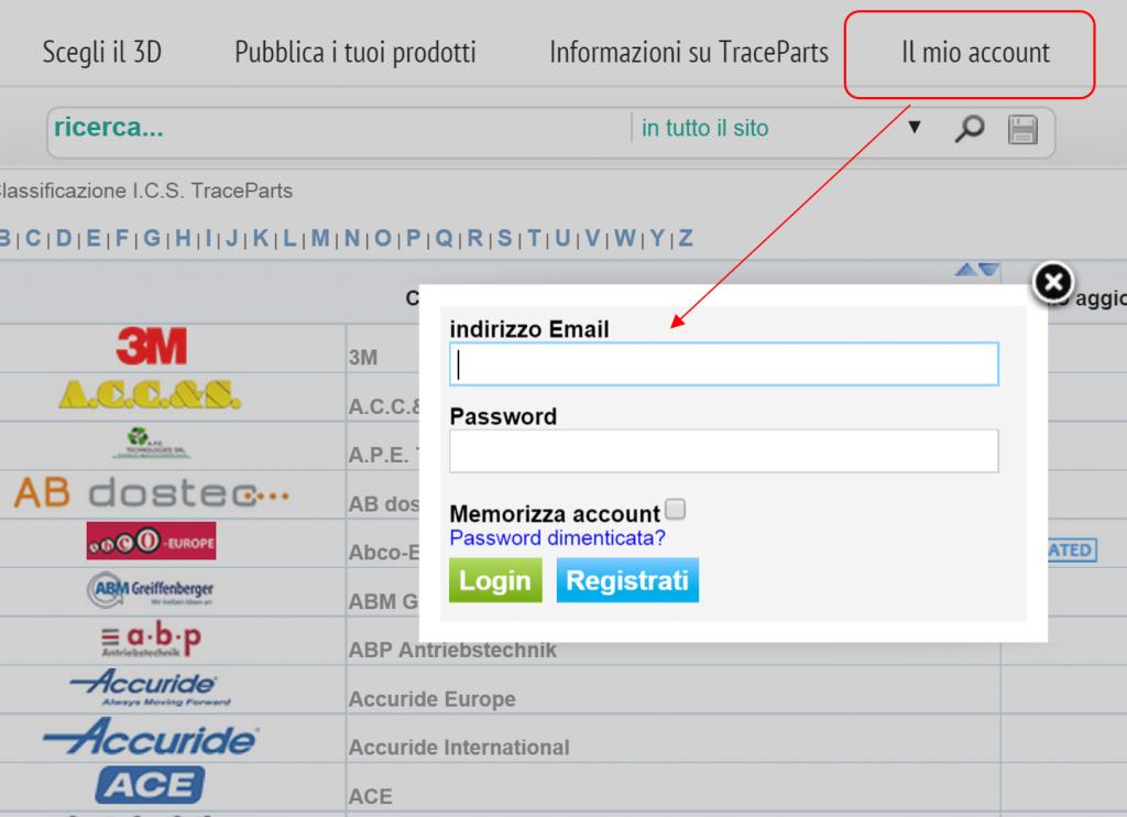 accesso account traceparts